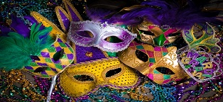 purple, yellow, and multicolor carnival masks with feathers and glider