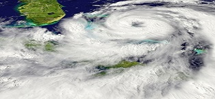 a satellite view of a hurricane